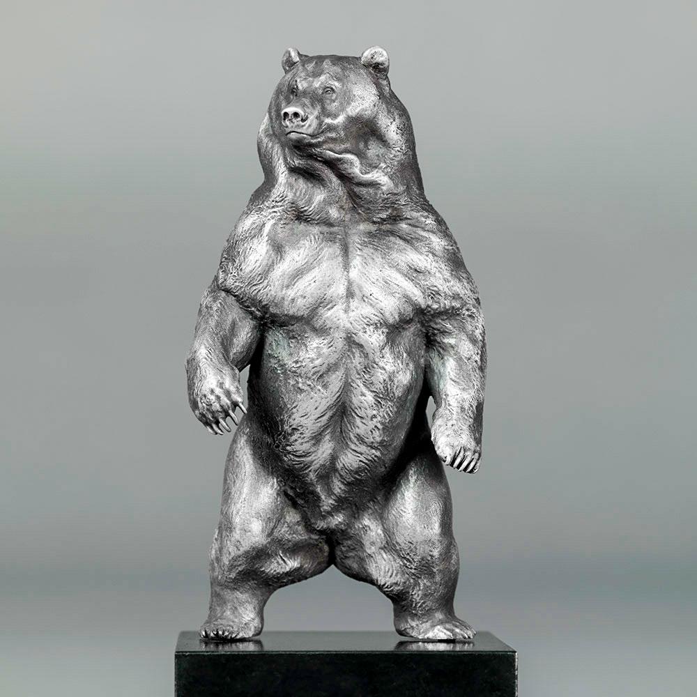 Kodiak Brown Bear (Indomitable - Silver Miniature) by Nick Bibby